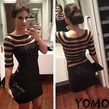 New Sexy Women Fashion Sequins Transparent Stripe Tight Cocktail Evening Dress