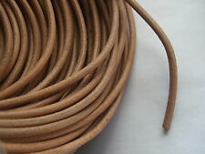 5/10 Yards 4mm Round Genuine Real Leather Cord Natural Color