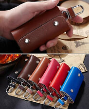 NEW Genuine Leather Woman Lady Man Unsex Door Car Key Chain Ring Case Holder Bag