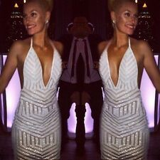 Halter Boutiques Sequined Plunged V neck party Ball Gown cocktail mini Dress
