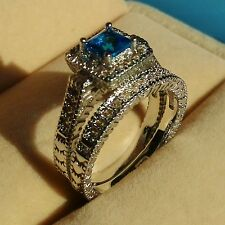 Antique Swarovski Crystal Diamonique 10KT White Gold GF Wedding Ring Set Sz 5-11