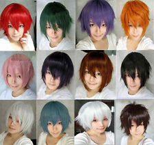 Fairy Tail Natsu Dragneel Short Cosplay Party Straight Full Wig FreeStyle Colors