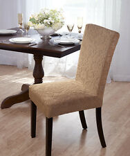 LUXURIOUS VELVET DAMASK DINING CHAIR COVER, STRETCH, DINING ROOM, BEIGE
