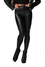 Leggings Winter Leder-Optik schwarz Matt Hoher Bund Gr. 36  38 40 42 44 46 ,p100