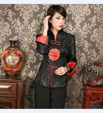 Charming Chinese Women's silk embroidery jacket /coat black Sz:M L XL XXL XXXL