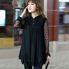 Women Lace Long Sleeve Chiffon Top Tunic Dress Plus Size 8 10 12 14 16 18 20 22