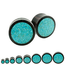 Pair Organic Sono Wood Crushed Blue Turquoise Inlay Plugs Double Saddle Flare