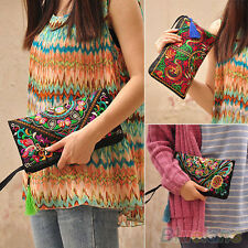 New Fashion Womens Ethnic Embroider Purse Wallet Clutch Card Holder Phone Bag