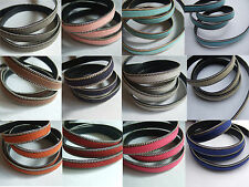 1/5 Y 10mm Flat Suede Leather Cord With Silver Chain Border Faux PU Leather Cord