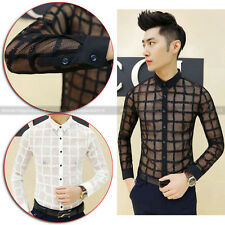 Men Gothic See Through Check Button Dress Shirt Long Sleeve Punk Slim Casual Top