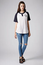 NEW TOPSHOP AMERICAN BASEBALL JERSEY TOP TEE BY PROJECT SOCIAL T UK M,L AG58