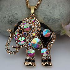 Betsey Johnson Crystal Elephant Pendant Necklace Free Shipping XL-60