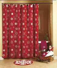 Winter Snowflake Bathroom Collection Crimson Red Shower Curtain Cotton NEW!