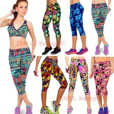 New Womens High Waist Fitness YOGA Sport pants Printed Stretch Cropped Leggings