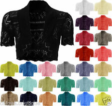Women's Crochet Knit Ladies Short Sleeve Lot Crop Shrug Bolero Cardigan Top 8-16
