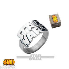 BOLD STAR WARS CUT OUT LOGO STAINLESS STEEL LUCASFILM LICENSED SILVER BAND RING