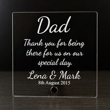 Personalised Thank You Favour Present Gift Plaque for Wedding - Parents Mum Dad