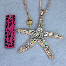 Betsey Johnson Crystal AB Starfish Pendant Sweater Chain Necklac XL-179