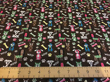 Dog Woof Doggie Print 100% Cotton Fabric Material Quilting Craft Brown