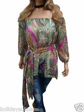 NEW LADIES WOMANS SEVENTIES VINTAGE HIPPY SEXY SHEER TOP FREE SCARF SIZE 10-20