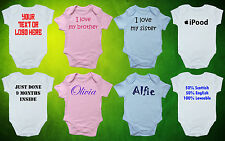 CUSTOM PERSONALISED Babygrow/Vest/Bodysuit/Romper- CHOOSE YOUR OWN DESIGN- Gift
