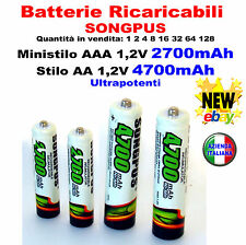 Batterie Ricaricabili SONGPUS 4700mAh Caricabatterie AA AAA Battery Rechargeable