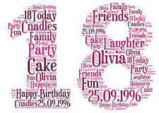Personalised 1st 18th 21st 30th 40th 50th 60th Birthday Keepsake Word Art Gift♥