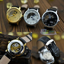 Luxury Mens Skeleton Watch Mechanical Hand Wind Movement Black Leather Strap New