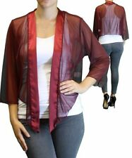 New Women Plus Size 3/4 Sleeve Burgundy Bolero Cardigan Sizes 1X 2X 3X 4X 5X 6X