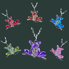 New Rhinestone Enamel Frog Pendant Necklace Silver Tone Long Chain Jewelry Hot