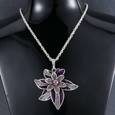 50% OFF Lucky Cute Leaf Flower Pendant Necklace With Crystal Rhinestone Silver