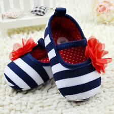 Toddler Girls Flower Crib Shoes Soft Stripes Elastic Casual Party Baby Shoes A48