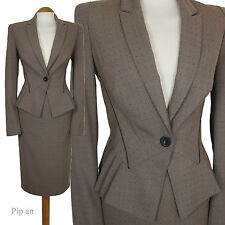 BROWN DOTTY NEXT PENCIL SKIRT SUIT 1940S 1950S STYLE WOMENS LADIES SIZE