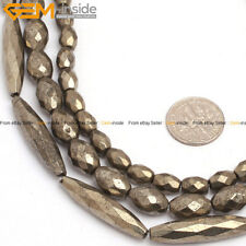 """Natural Stone Pyrite Gemstone Beads For Jewelry Making 15"""" Faceted Olivary"""
