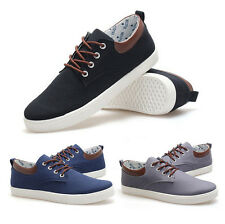 Men's Fashion Lace Up Flats Canvas Low-Top Board Shoes Casual Loafers Sneakers