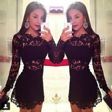 Women's Long Sleeve Crew Neck Floral Print Hollow Lace Sexy Cocktail Mini Dress