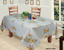 Embroidered Sunflower Cutwork Tablecloth & Napkins White Holiday Creative Linens