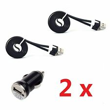 Car Charger+2 Micro Noodle USB Cable For Samsung Galaxy  S4 S3 Note 2 ,1