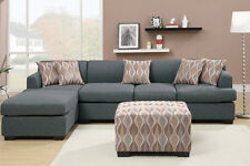 Blue Grey Blended Linen Fabric Sectional Couch Sofa Set Modern Furniture