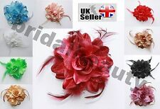 Fascinator Barrette Flower Brooch Hair Elastic Feather Burlesque Corsage Glitter