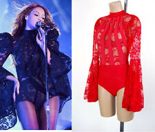 New Valentine Inspired by Beyonce Red Lace Sheer Bell Sleeve Bodysuit S M L