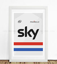 TEAM SKY CYCLING HEROES SHIRT JEREY PRINT WALL ART ARTWORK POSTER PHOTO FRAMED