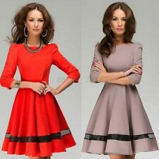 New Women Clothes Autumn Spring OL Big Swing Pleated Dress Sleeve Solid Color