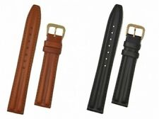 Chrono Style Leather Watch Strap With Buckle