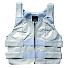 WOMENS LADIES BULLET PROOF STYLE NAKED REAL LEATHER MOTORCYCLE WHITE VEST - K2K