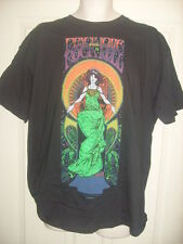 Mens black t-shirt Size XL, Peace Love and rock n roll sign sixties flower power