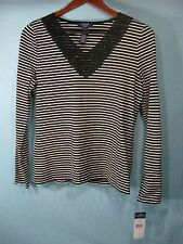 NWT  Chaps by Ralph Lauren Women's White and Black Striped Top