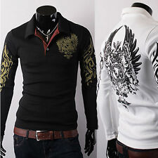 NEW Men's Casual Slim Fit Eagle Tattoo Long Sleeve T-shirt POLO Shirt Tee Top