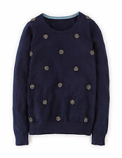 Boden Women's Brand New Embellished Jumper Navy Blue with Cashmere