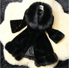 new women's Winter Real mink fur fox Raccoon Fur Coat Jacket long fur Outwear #1
